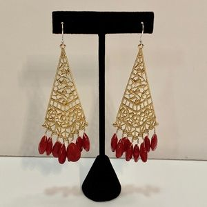 VINTAGE Gold and Red Beaded Drop Earrings